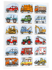 Obraz na szkle akrylowym  All my cars - Hugos Illustrations