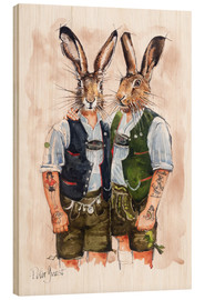 Obraz na drewnie  Gay Rabbits - Peter Guest