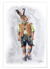 Plakat Rabbit guy in leather pants