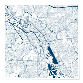 Plakat  City map of Hannover - 44spaces