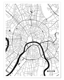 Plakat  Moscow Russia Map - Main Street Maps