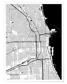 Plakat Chicago USA Map
