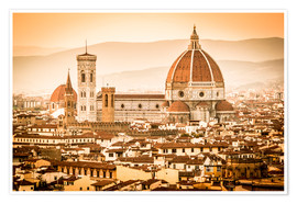 Plakat Cityscape with Cathedral and Brunelleschi Dome, Florence