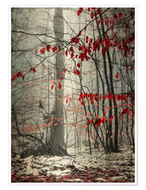 Plakat Winter forest with last leaves