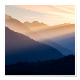 Plakat Evening light in the mountains