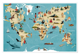 Plakat  World map with animals (German) - coico