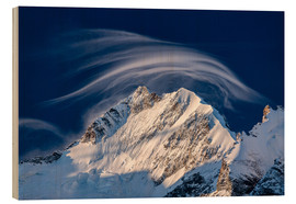 Obraz na drewnie  Gentle cloud over Piz Bernina, Switzerland - Roberto Moiola