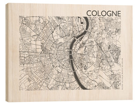 Obraz na drewnie  City map of Cologne - 44spaces
