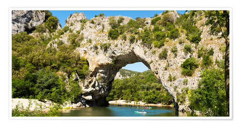 Plakat The stone bridge Pont-d'Arc over the river Ardèche
