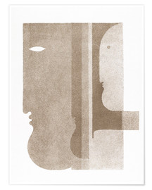 Plakat  Two profiles to the left, one to the right - Oskar Schlemmer