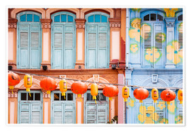 Plakat Colorful windows in Chinatown, Singapore