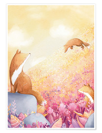 Plakat  Foxes and summer flowers - Rebecca Richards