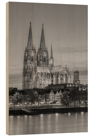 Obraz na drewnie  Cologne Cathedral black-and-white - Michael Valjak