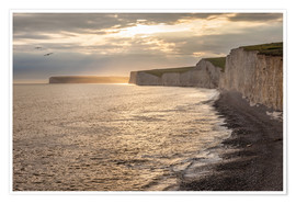 Plakat Chalk cliffs Seven Sisters in southern England