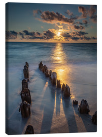 Obraz na płótnie  Groyne on Sylt with sunset - Heiko Mundel