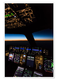Plakat Airbus A380 Cockpit at twilight