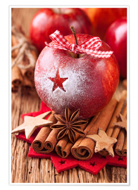 Plakat Red winter apples with cinnamon sticks and anise