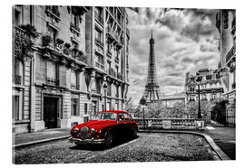 Obraz na szkle akrylowym  Paris in black and white with red car - Art Couture