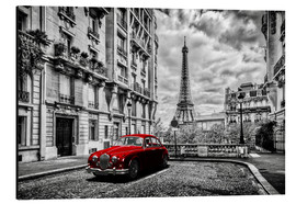 Obraz na aluminium  Paris in black and white with red car - Art Couture