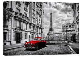 Obraz na płótnie  Paris in black and white with red car - Art Couture