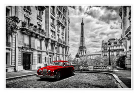 Plakat  Paris in black and white with red car - Art Couture