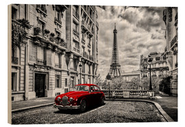 Obraz na drewnie  Paris in black and white with red car - Art Couture