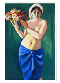 Plakat Woman, carrying a flower cup