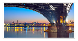 Plakat Mainz Germany with rhine bridge